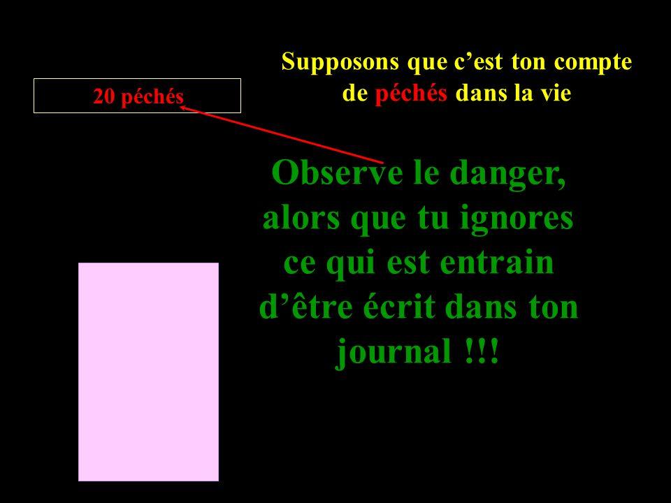Supposons que cest ton compte de péchés dans la vie 20 péchés Observe le danger, alors que tu ignores ce qui est entrain dêtre écrit dans ton journal !!!