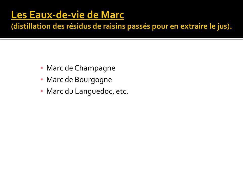 Marc de Champagne Marc de Bourgogne Marc du Languedoc, etc.