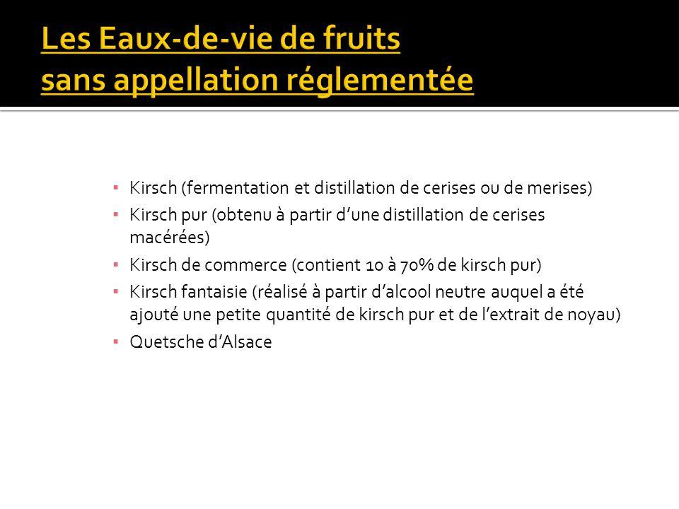 Kirsch (fermentation et distillation de cerises ou de merises) Kirsch pur (obtenu à partir dune distillation de cerises macérées) Kirsch de commerce (
