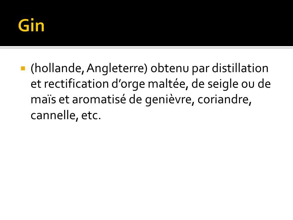 (hollande, Angleterre) obtenu par distillation et rectification dorge maltée, de seigle ou de maïs et aromatisé de genièvre, coriandre, cannelle, etc.