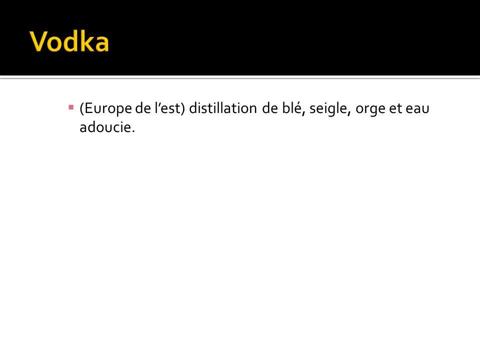 (Europe de lest) distillation de blé, seigle, orge et eau adoucie.