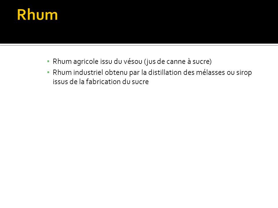 Rhum agricole issu du vésou (jus de canne à sucre) Rhum industriel obtenu par la distillation des mélasses ou sirop issus de la fabrication du sucre