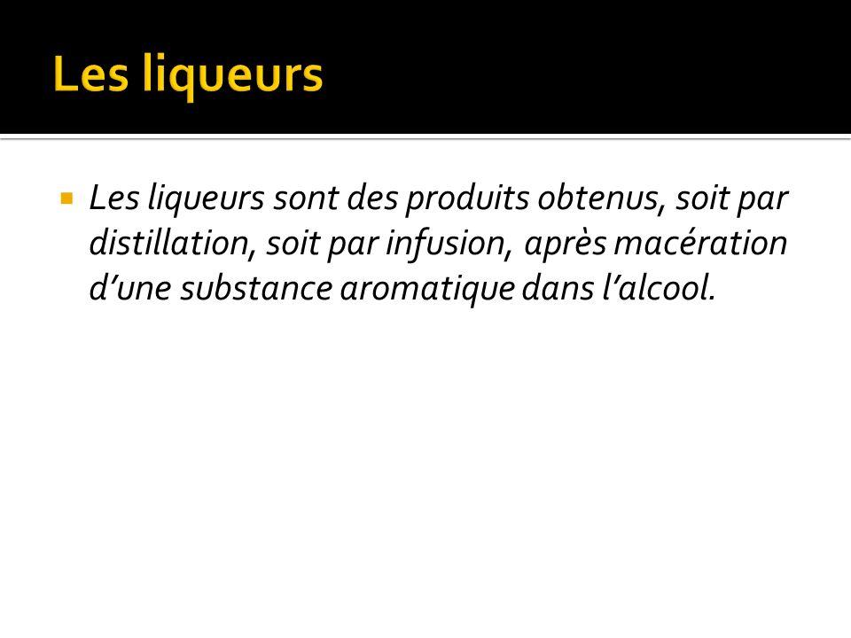 Les liqueurs sont des produits obtenus, soit par distillation, soit par infusion, après macération dune substance aromatique dans lalcool.