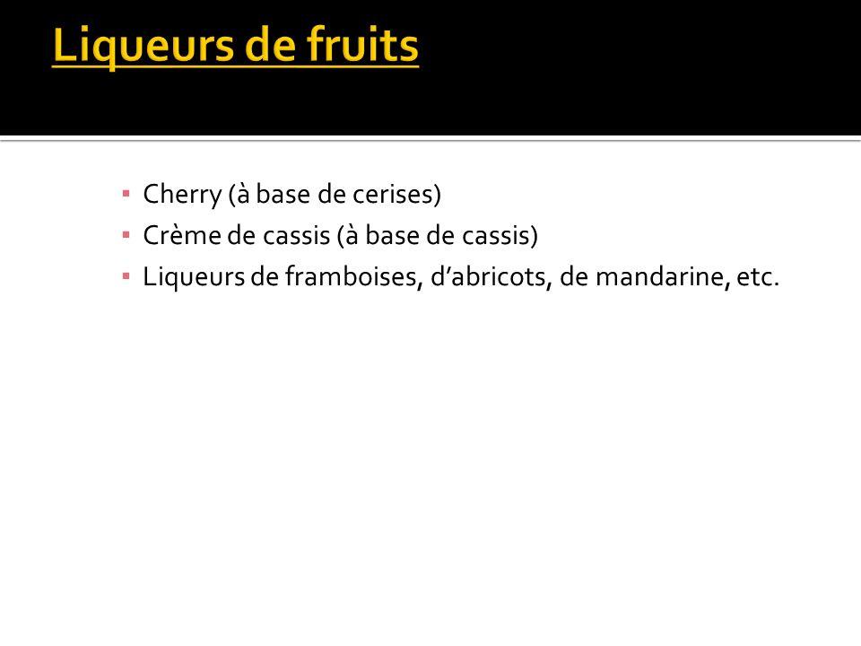 Cherry (à base de cerises) Crème de cassis (à base de cassis) Liqueurs de framboises, dabricots, de mandarine, etc.