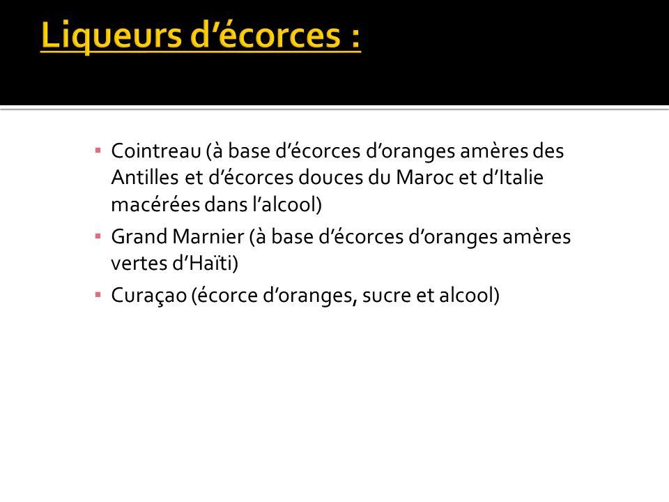 Cointreau (à base décorces doranges amères des Antilles et décorces douces du Maroc et dItalie macérées dans lalcool) Grand Marnier (à base décorces d