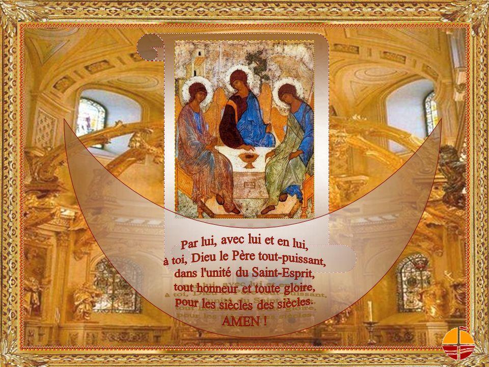 Accorde à tous ceux qui vont partager ce pain et boire à cette coupe dêtre rassemblés par lEsprit Saint en un seul corps pour quils soient dans le Christ Jésus une vivante offrande à la louange de ta gloire.