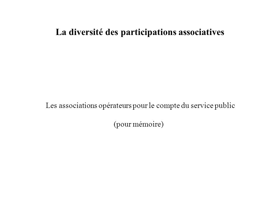 La diversité des participations associatives Les associations opérateurs pour le compte du service public (pour mémoire)