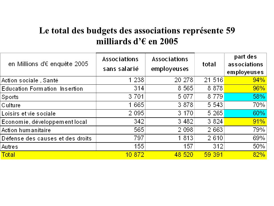 Le total des budgets des associations représente 59 milliards d en 2005