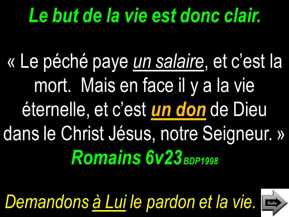 Le but de la vie est donc clair.« Le péché paye un salaire, et cest la mort.