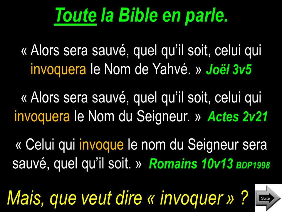 Toute la Bible en parle.« Alors sera sauvé, quel quil soit, celui qui invoquera le Nom de Yahvé.