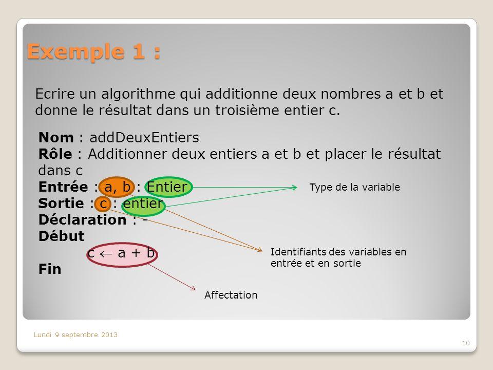 Exemple 1 : Ecrire un algorithme qui additionne deux nombres a et b et donne le résultat dans un troisième entier c. Lundi 9 septembre 2013 Identifian