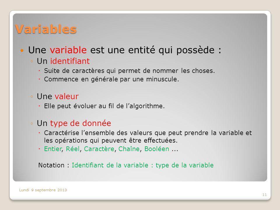 Variables Une variable est une entité qui possède : Un identifiant Suite de caractères qui permet de nommer les choses. Commence en générale par une m