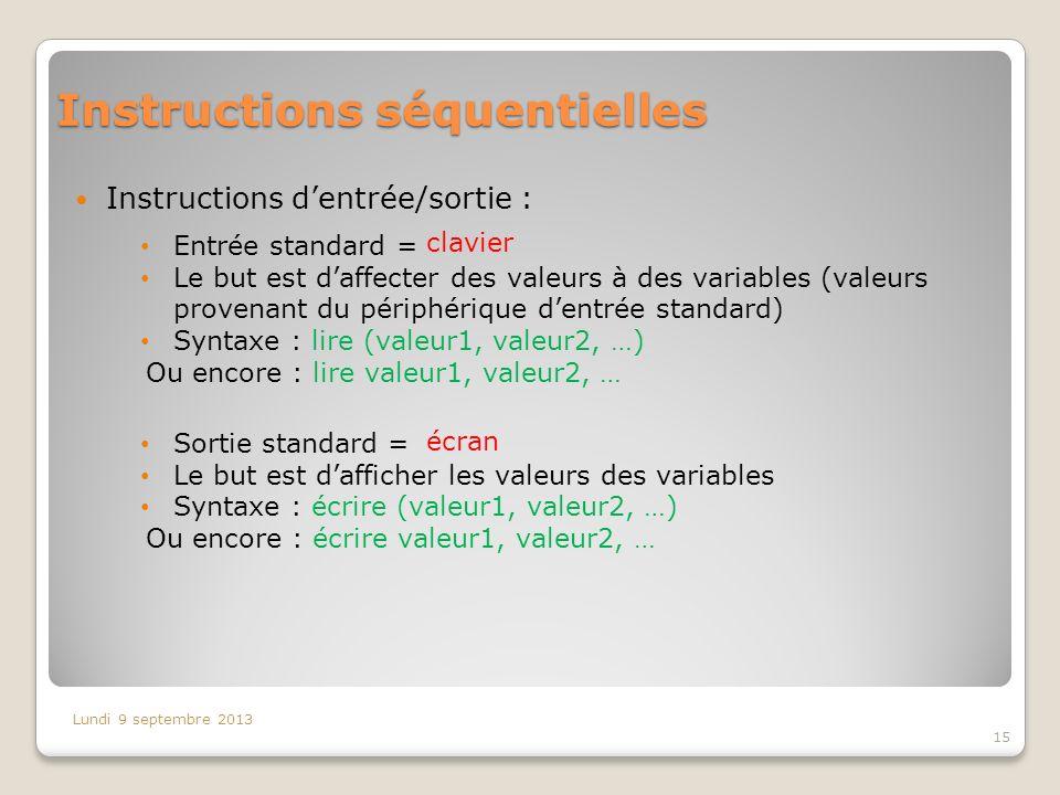 Sortie standard = Le but est dafficher les valeurs des variables Syntaxe : écrire (valeur1, valeur2, …) Ou encore : écrire valeur1, valeur2, … Entrée