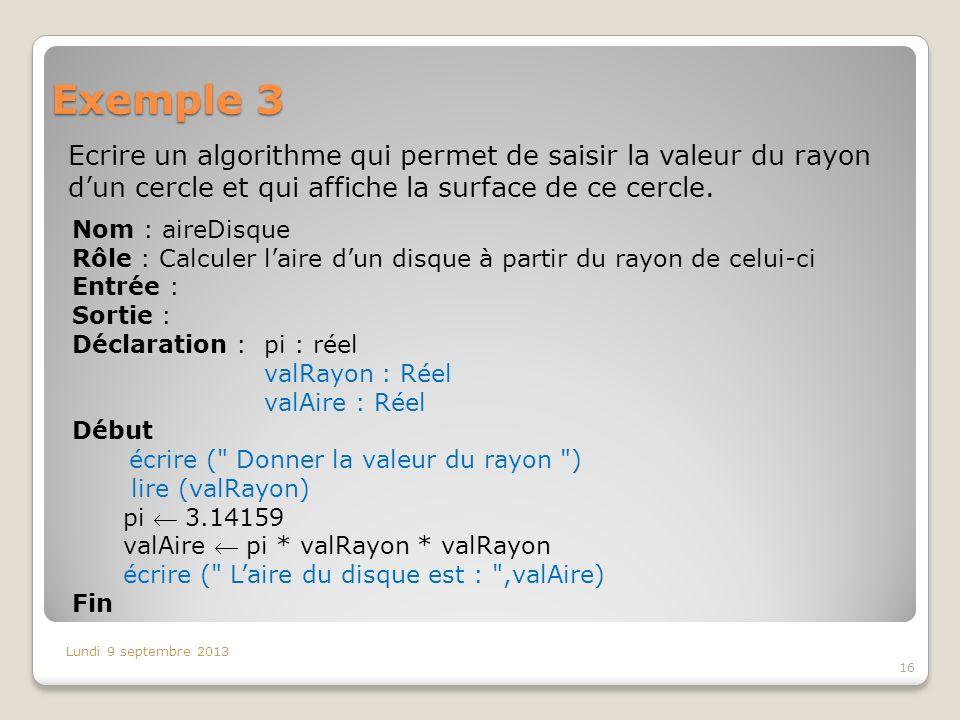 Exemple 3 Ecrire un algorithme qui permet de saisir la valeur du rayon dun cercle et qui affiche la surface de ce cercle. Lundi 9 septembre 2013 16 No