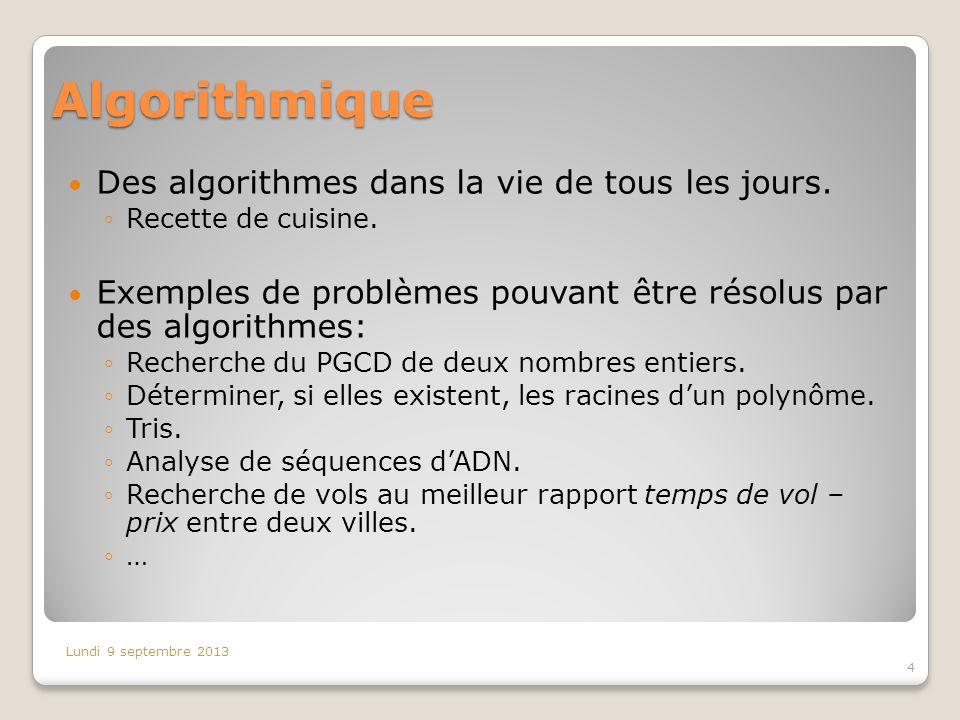Algorithmique Des algorithmes dans la vie de tous les jours. Recette de cuisine. Exemples de problèmes pouvant être résolus par des algorithmes: Reche