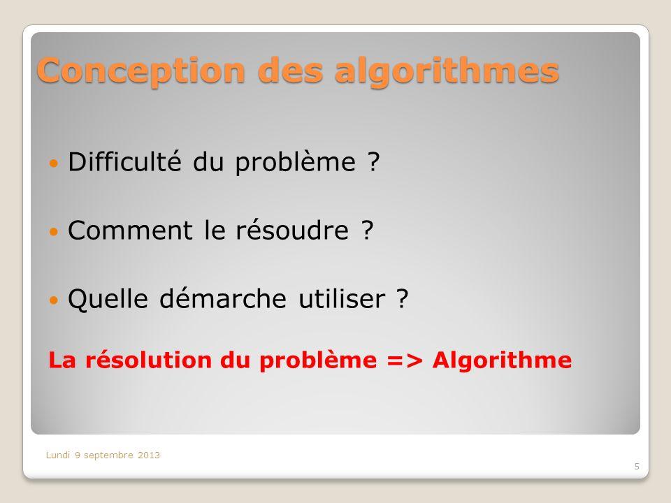 Conception des algorithmes Difficulté du problème ? Comment le résoudre ? Quelle démarche utiliser ? La résolution du problème => Algorithme Lundi 9 s
