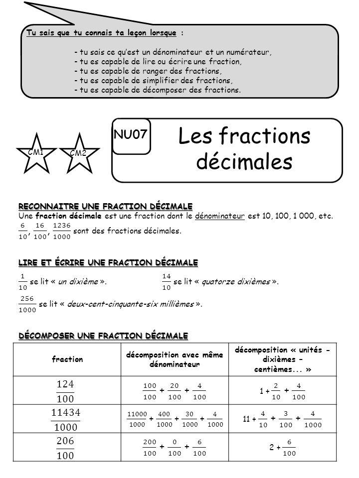 Tu sais que tu connais ta leçon lorsque : - tu sais ce quest un dénominateur et un numérateur, - tu es capable de lire ou écrire une fraction, - tu es