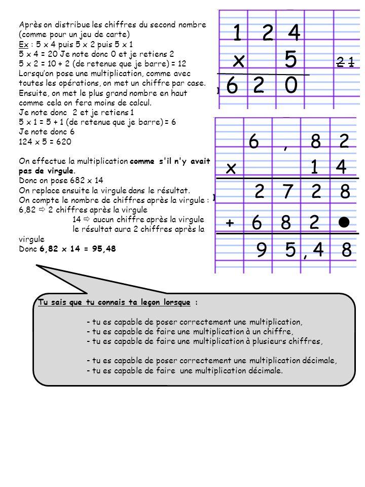 Après on distribue les chiffres du second nombre (comme pour un jeu de carte) Ex : 5 x 4 puis 5 x 2 puis 5 x 1 5 x 4 = 20 Je note donc 0 et je retiens