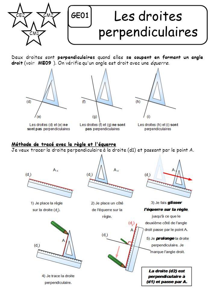 CE2 CM1 CM2 GE01 Les droites perpendiculaires Deux droites sont perpendiculaires quand elles se coupent en formant un angle droit (voir ME09 ). On vér