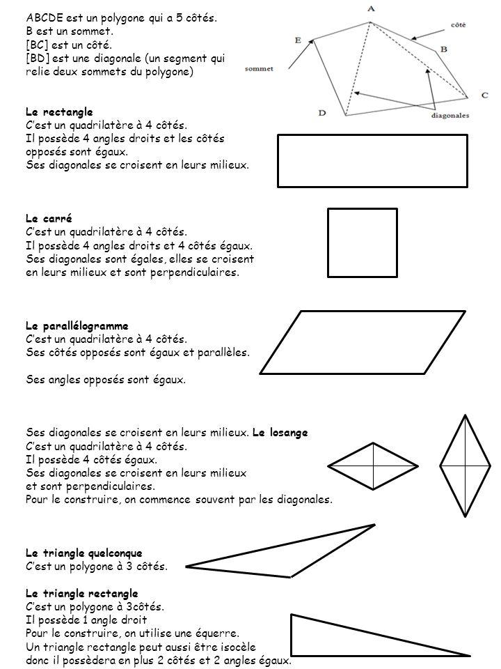 ABCDE est un polygone qui a 5 côtés. B est un sommet. [BC] est un côté. [BD] est une diagonale (un segment qui relie deux sommets du polygone) Le rect
