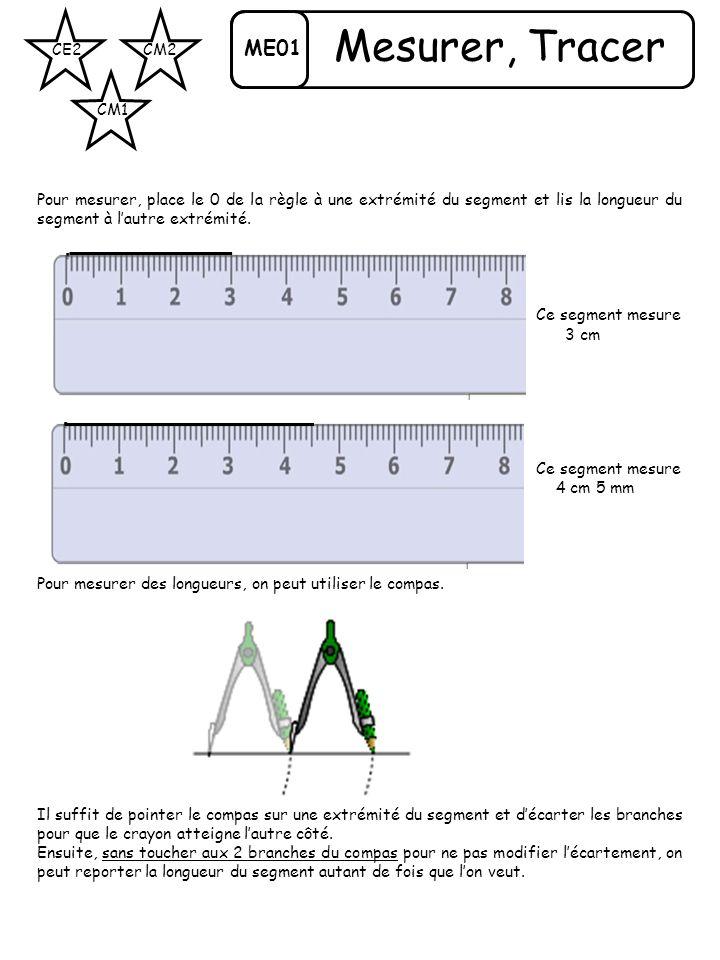 ME01 CE2 CM1 CM2 Mesurer, Tracer Pour mesurer, place le 0 de la règle à une extrémité du segment et lis la longueur du segment à lautre extrémité. Ce
