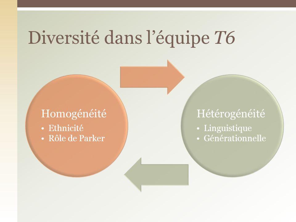 Homogénéité Ethnicité Rôle de Parker Hétérogénéité Linguistique Générationnelle Diversité dans léquipe T6