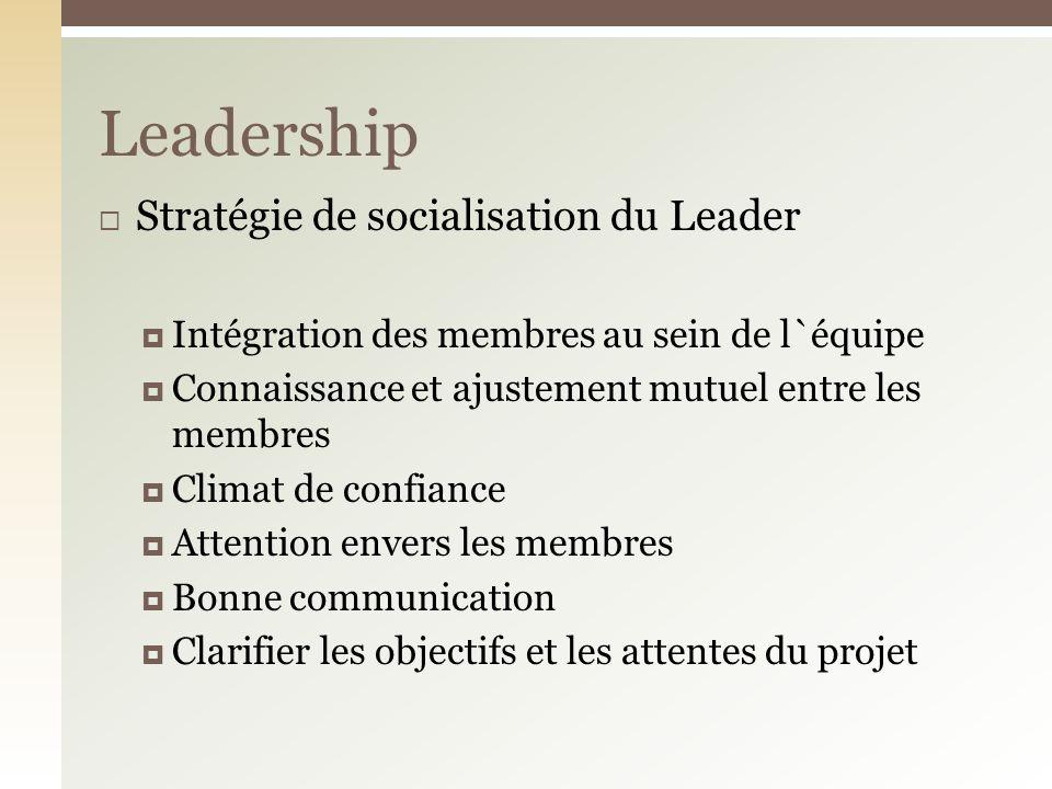 Stratégie de socialisation du Leader Intégration des membres au sein de l`équipe Connaissance et ajustement mutuel entre les membres Climat de confiance Attention envers les membres Bonne communication Clarifier les objectifs et les attentes du projet Leadership
