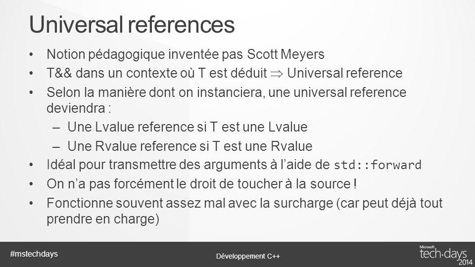 Développement C++ #mstechdays Notion pédagogique inventée pas Scott Meyers T&& dans un contexte où T est déduit Universal reference Selon la manière d