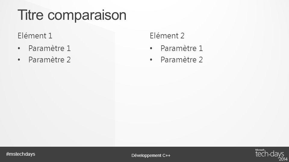 Développement C++ #mstechdays Elément 1 Paramètre 1 Paramètre 2 Elément 2 Paramètre 1 Paramètre 2 Titre comparaison