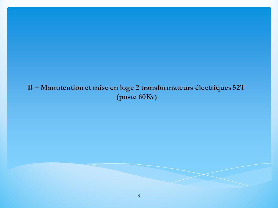 B – Manutention et mise en loge 2 transformateurs électriques 52T (poste 60Kv) 9