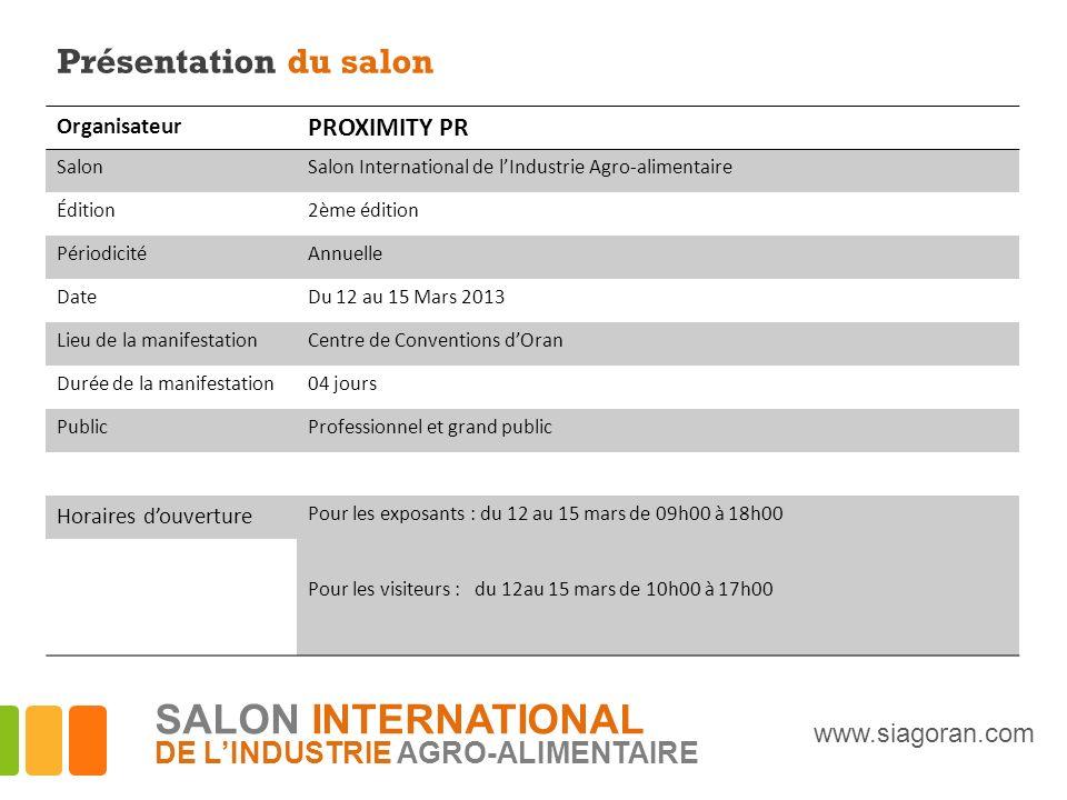 Présentation du salon Organisateur PROXIMITY PR SalonSalon International de lIndustrie Agro-alimentaire Édition2ème édition PériodicitéAnnuelle DateDu