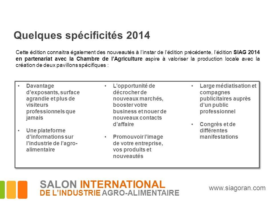 Quelques spécificités 2014 Cette édition connaitra également des nouveautés à linstar de lédition précédente, lédition SIAG 2014 en partenariat avec l