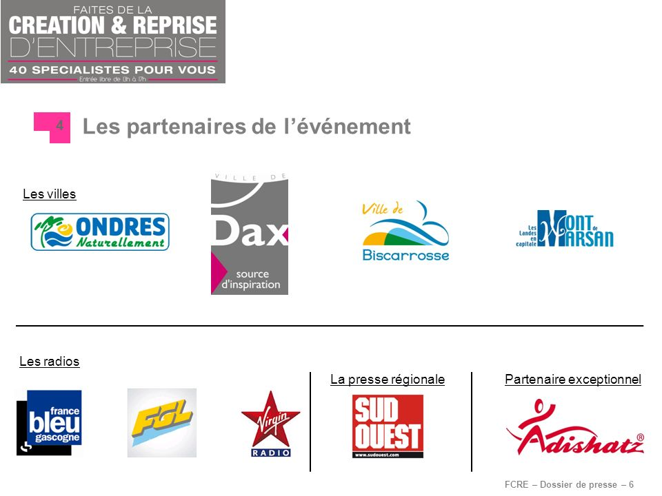 FCRE – Dossier de presse – 6 Les partenaires de lévénement 4 Les radios Les villes Partenaire exceptionnelLa presse régionale
