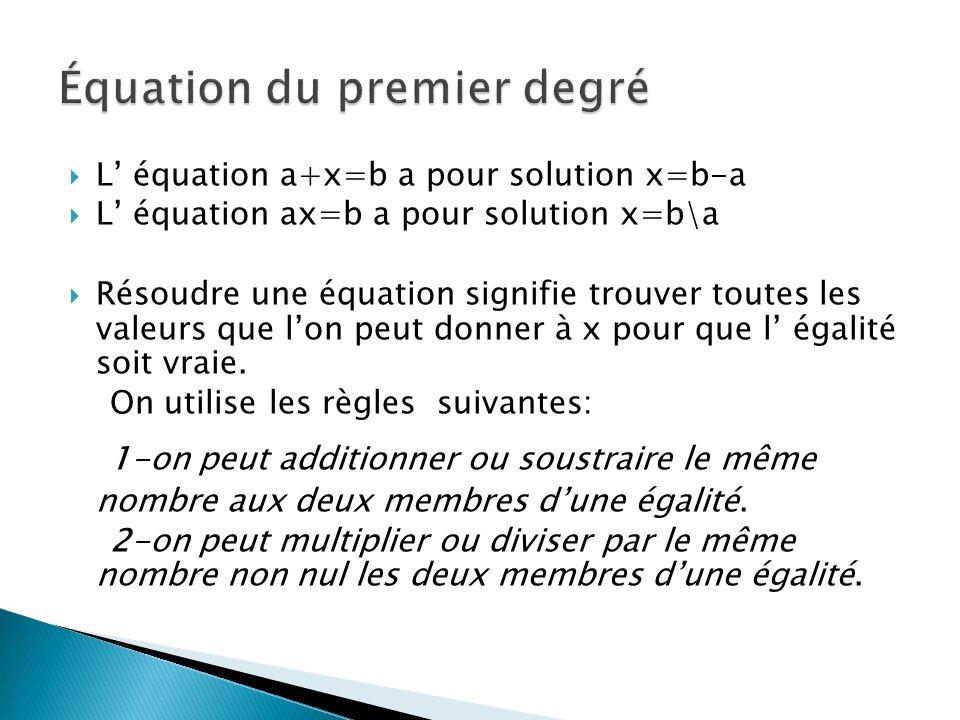 L équation a+x=b a pour solution x=b-a L équation ax=b a pour solution x=b\a Résoudre une équation signifie trouver toutes les valeurs que lon peut do