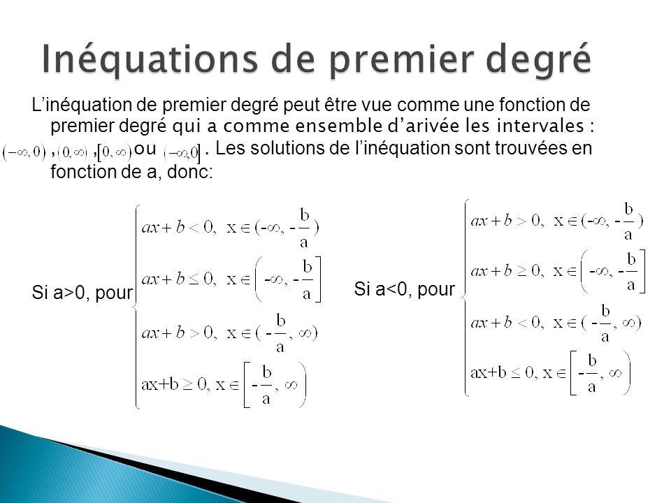 Linéquation de premier degré peut être vue comme une fonction de premier degr é qui a comme ensemble darivée les intervales :,, ou. Les solutions de l