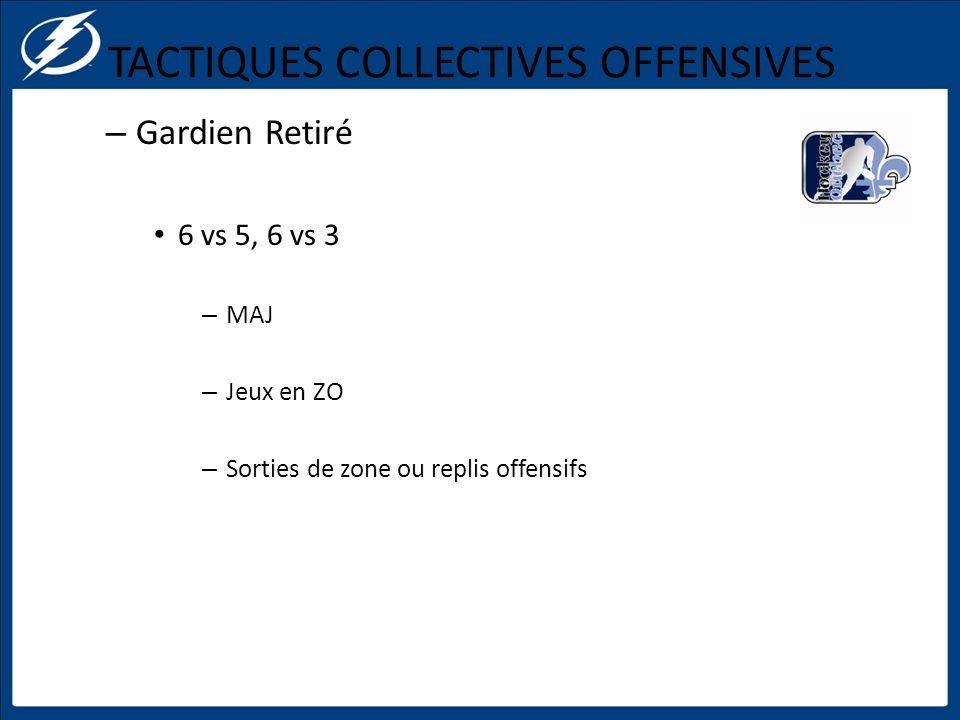 TACTIQUES COLLECTIVES OFFENSIVES – Gardien Retiré 6 vs 5, 6 vs 3 – MAJ – Jeux en ZO – Sorties de zone ou replis offensifs