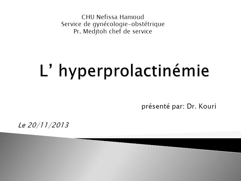 présenté par: Dr. Kouri Le 20/11/2013 CHU Nefissa Hamoud Service de gynécologie-obstétrique Pr. Medjtoh chef de service