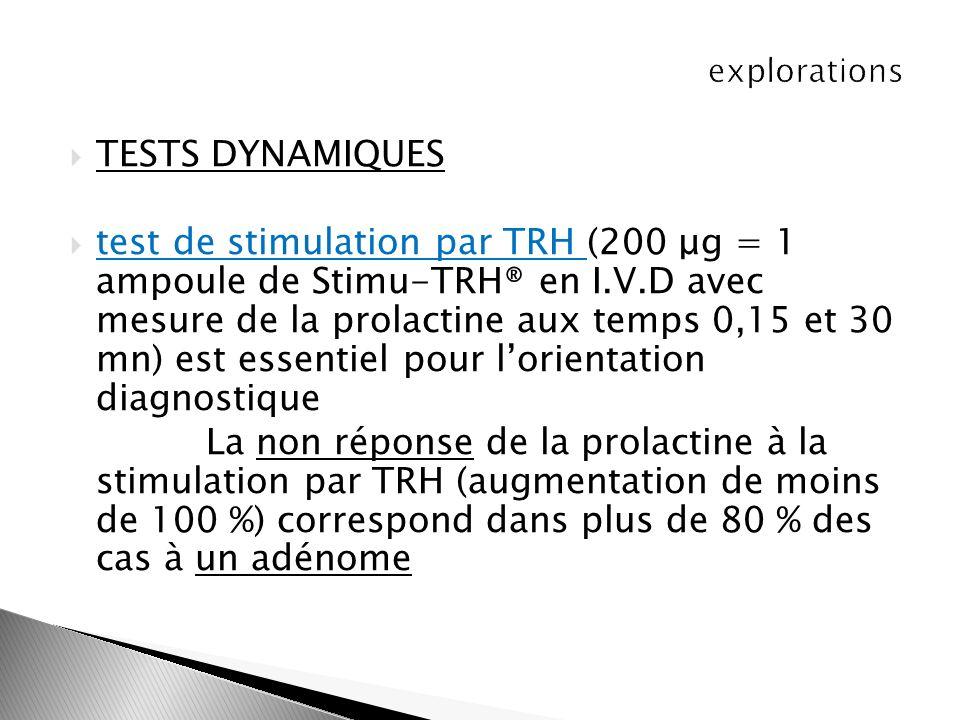 TESTS DYNAMIQUES test de stimulation par TRH (200 μg = 1 ampoule de Stimu-TRH® en I.V.D avec mesure de la prolactine aux temps 0,15 et 30 mn) est esse