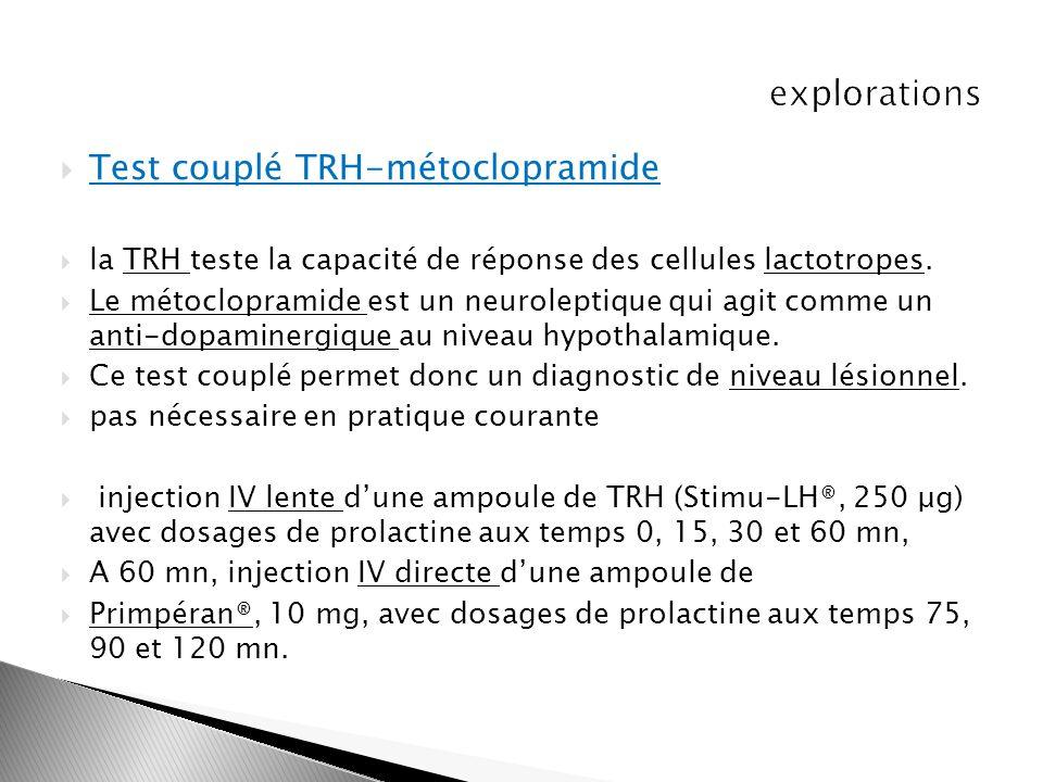 Test couplé TRH-métoclopramide la TRH teste la capacité de réponse des cellules lactotropes. Le métoclopramide est un neuroleptique qui agit comme un