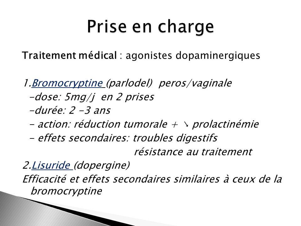 Traitement médical : agonistes dopaminergiques 1.Bromocryptine (parlodel) peros/vaginale -dose: 5mg/j en 2 prises -durée: 2 -3 ans - action: réduction