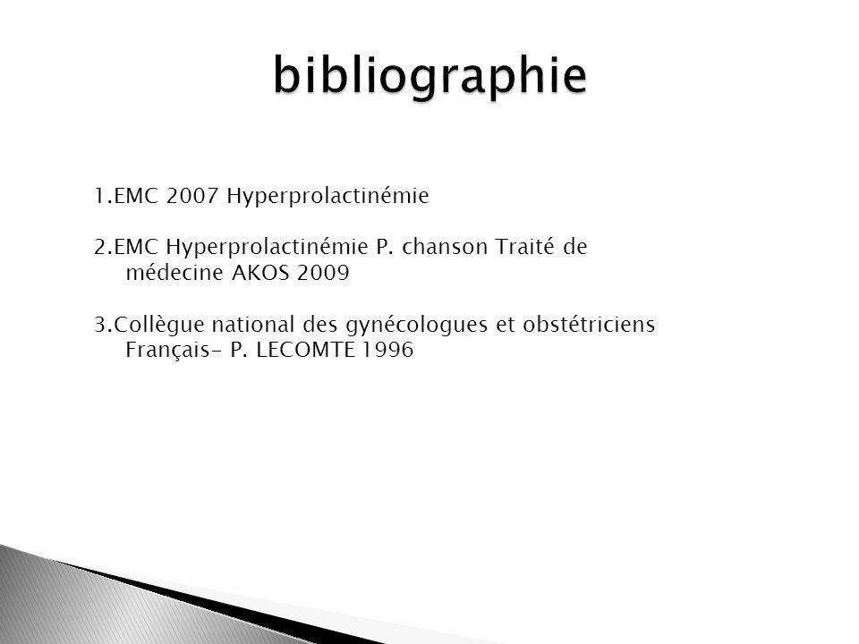 1.EMC 2007 Hyperprolactinémie 2.EMC Hyperprolactinémie P. chanson Traité de médecine AKOS 2009 3.Collègue national des gynécologues et obstétriciens F