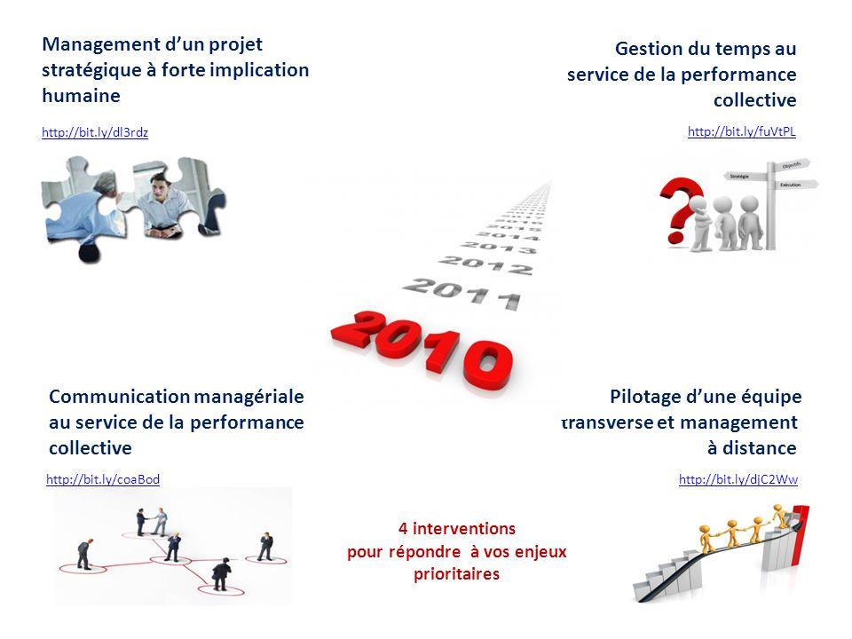 Management dun projet stratégique à forte implication humaine Communication managériale au service de la performance collective Pilotage dune équipe t