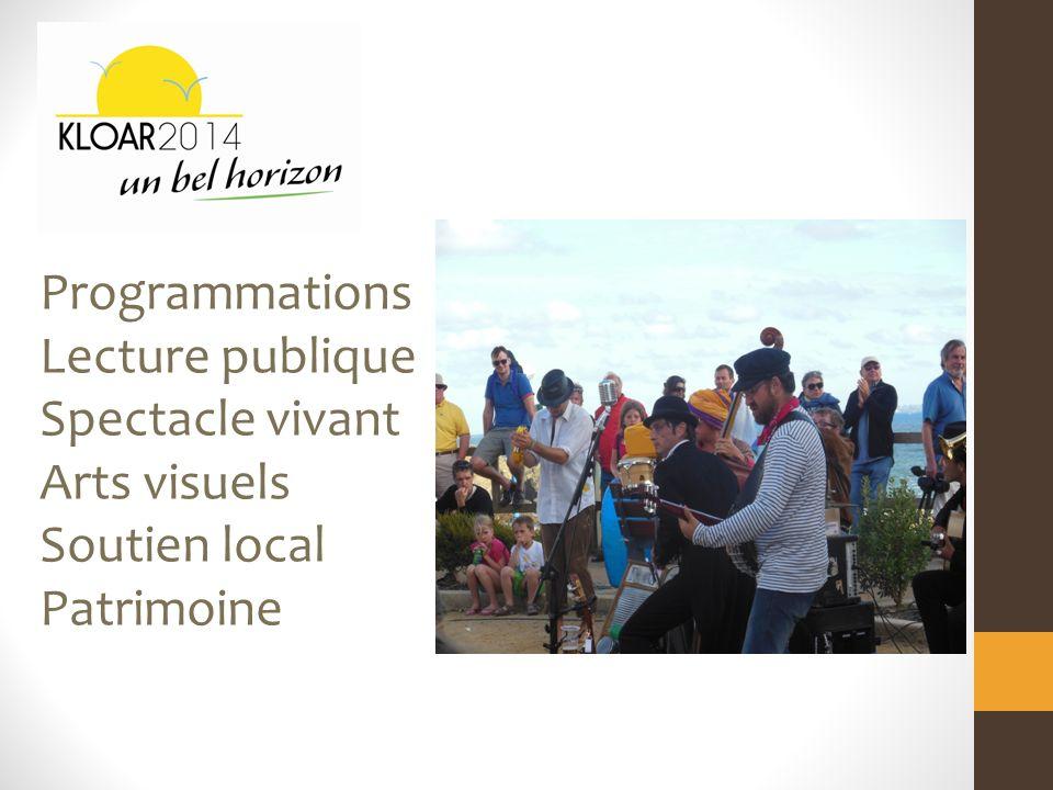 Programmations Lecture publique Spectacle vivant Arts visuels Soutien local Patrimoine