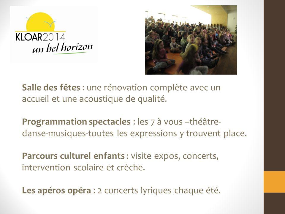 Salle des fêtes : une rénovation complète avec un accueil et une acoustique de qualité.