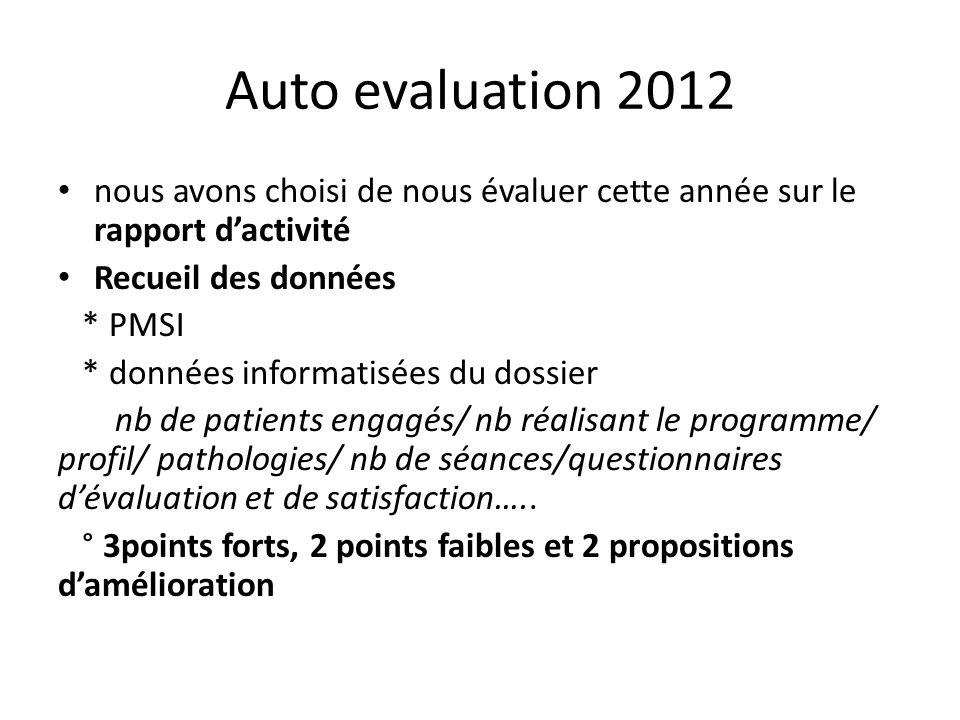 Auto evaluation 2012 nous avons choisi de nous évaluer cette année sur le rapport dactivité Recueil des données * PMSI * données informatisées du doss