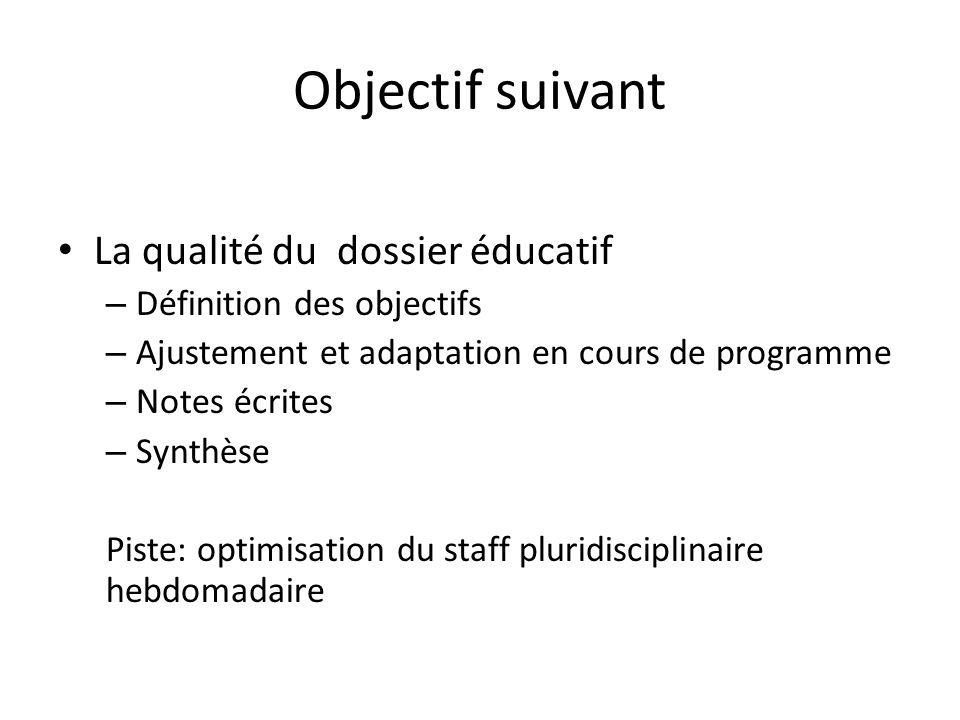 Objectif suivant La qualité du dossier éducatif – Définition des objectifs – Ajustement et adaptation en cours de programme – Notes écrites – Synthèse