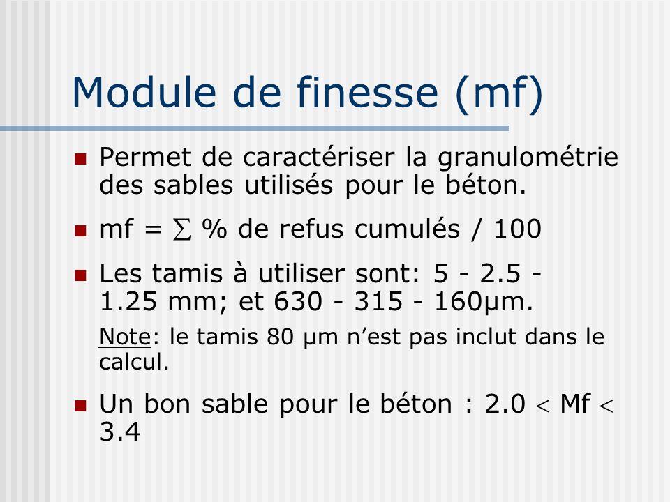 Module de finesse (mf) Permet de caractériser la granulométrie des sables utilisés pour le béton. mf = % de refus cumulés / 100 Les tamis à utiliser s