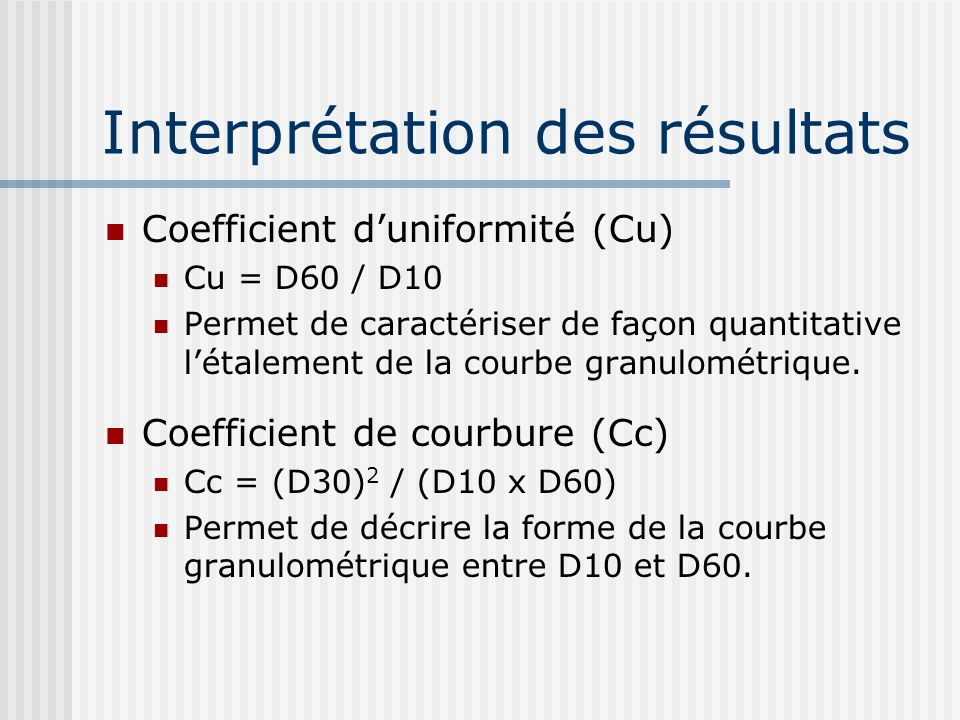 Interprétation des résultats Coefficient duniformité (Cu) Cu = D60 / D10 Permet de caractériser de façon quantitative létalement de la courbe granulom