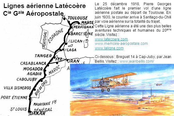 Lignes aérienne Latécoère C ie G ale Aéropostale Le 25 décembre 1918, Pierre Georges Latécoère fait le premier vol dune ligne aérienne postale au dépa