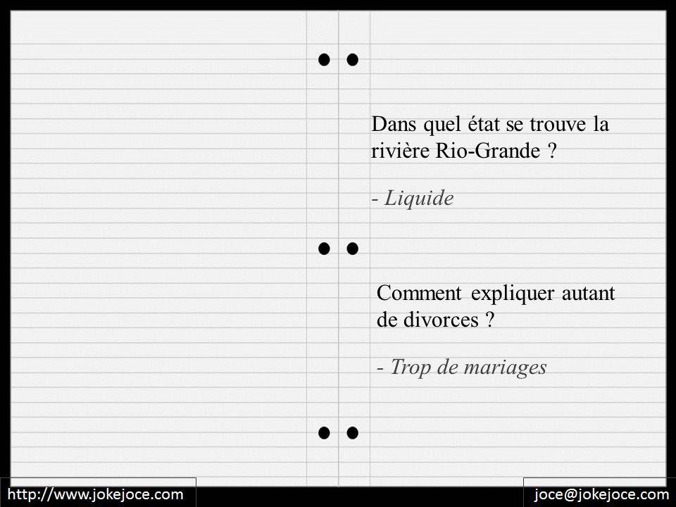 - Trop de mariages Dans quel état se trouve la rivière Rio-Grande ? - Liquide Comment expliquer autant de divorces ?